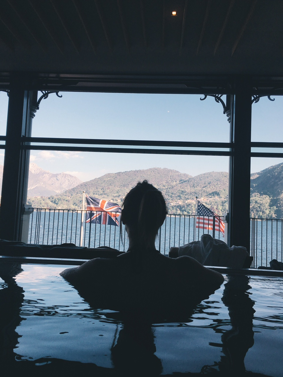View of Lake Como from infinity pool at T Spa Grand Hotel Tremezzo