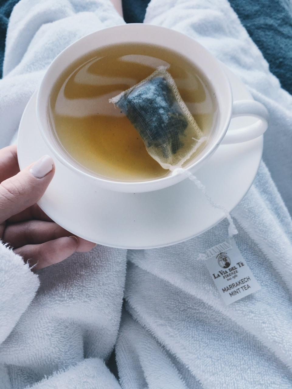 Overhead shot of Moroccan mint tea at T Spa Grand Hotel Tremezzo in robe