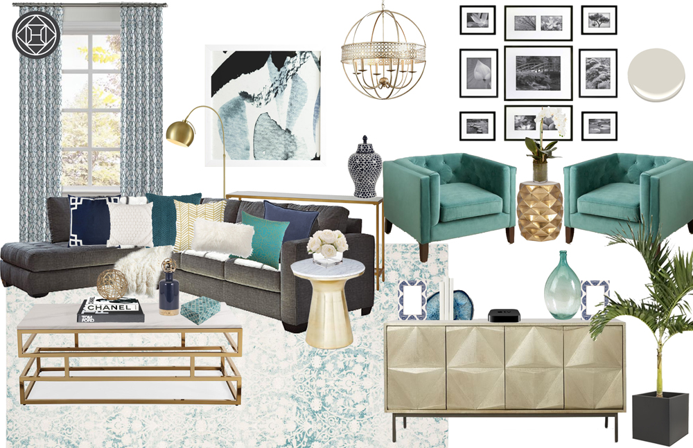 Havenly design contemporary gold and turquoise living room concept design board