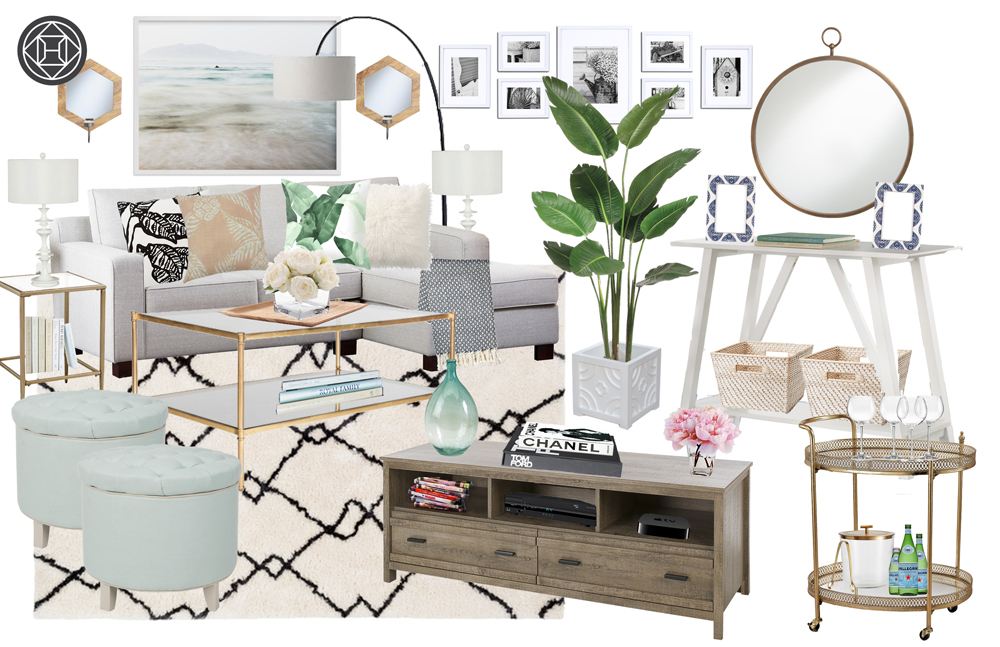 Havenly design eclectic coastal light bright living room concept design board