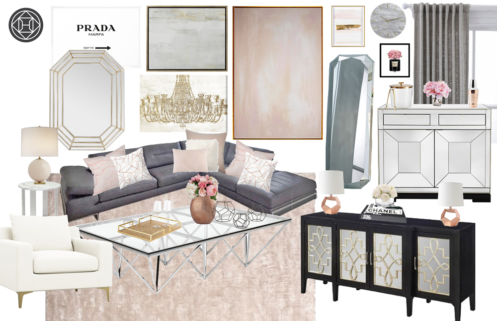 Havenly design glam living room with blush and gold grey color palette