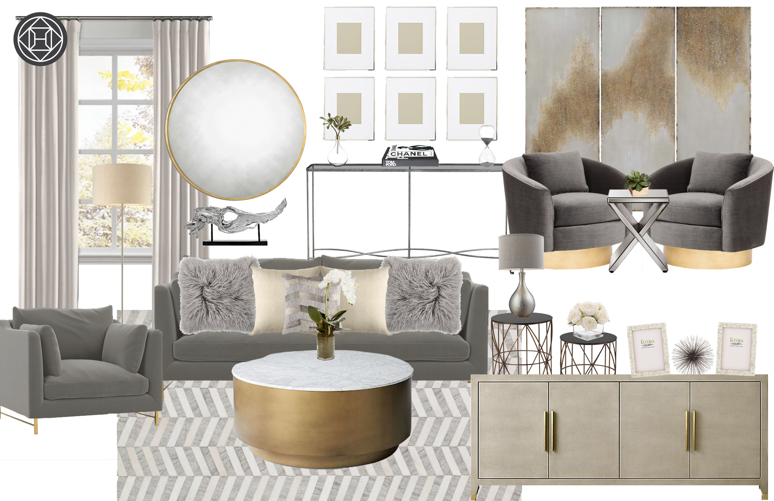 Havenly design contemporary glam living room with greys and mixed metals
