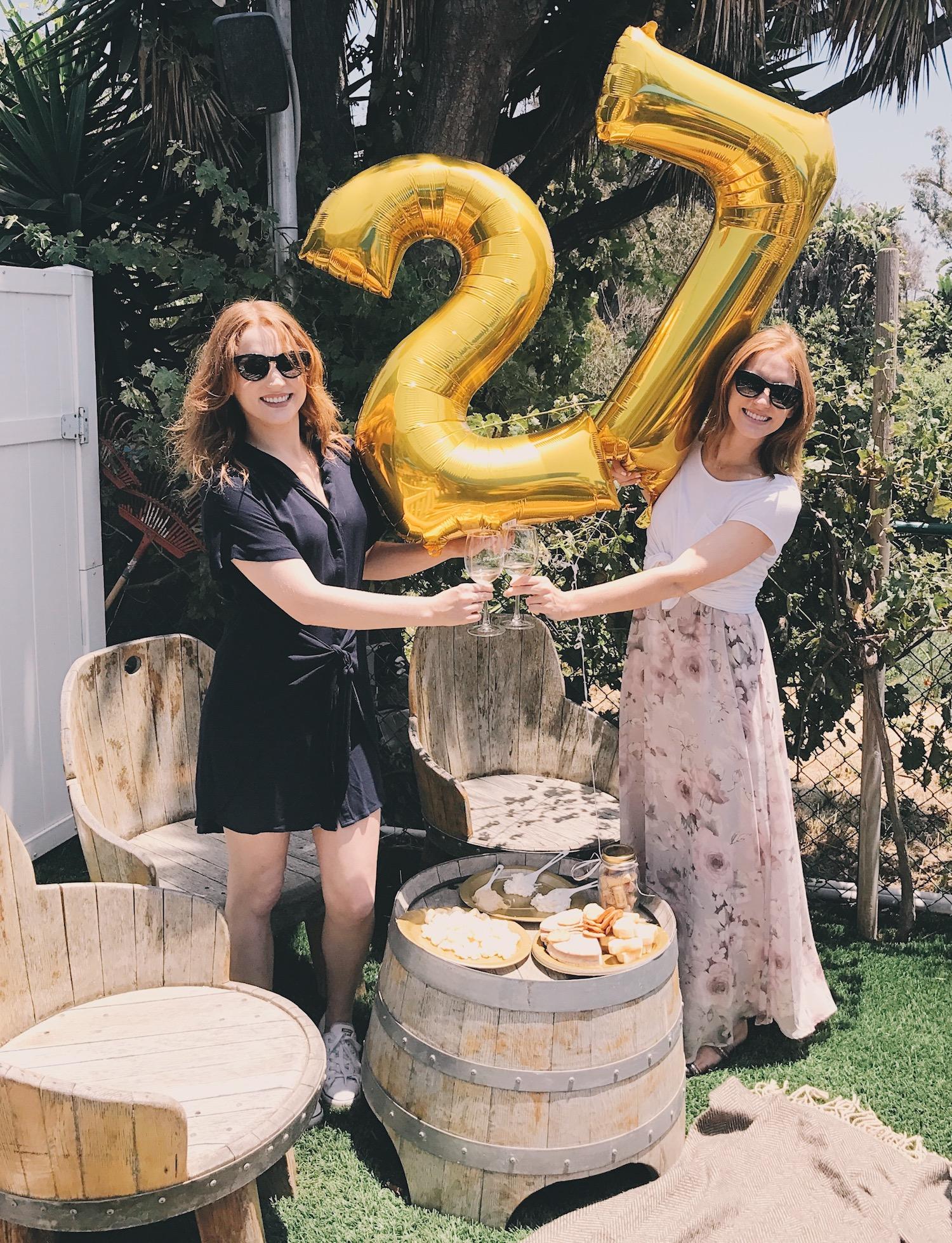 Twins 27 birthday gold balloons wine bar wine patio