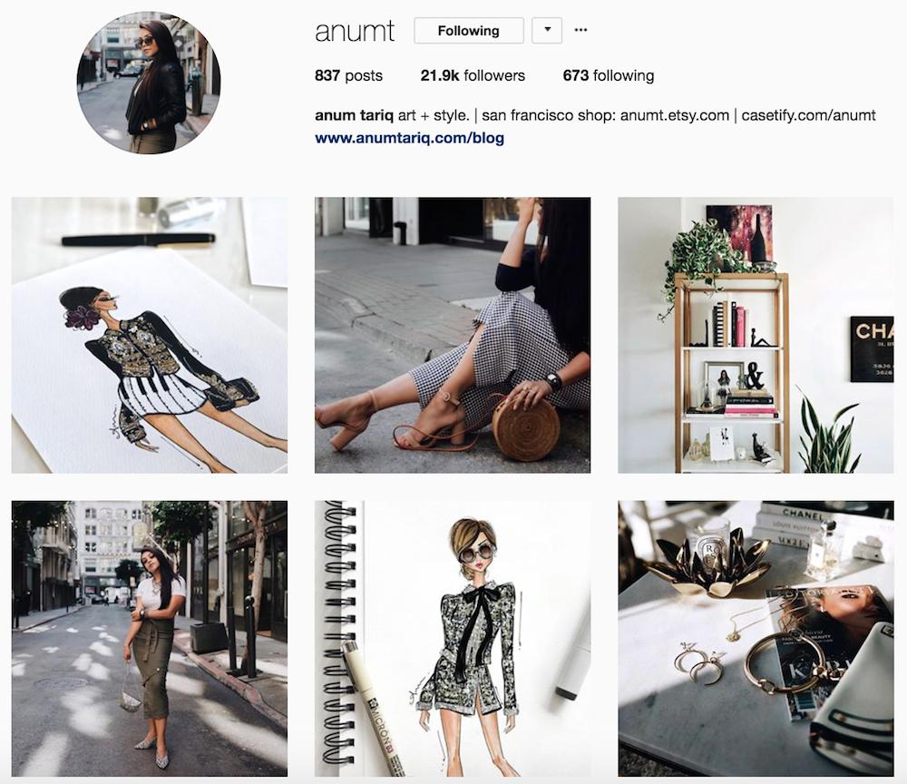 Screenshot of @anumt Instagram