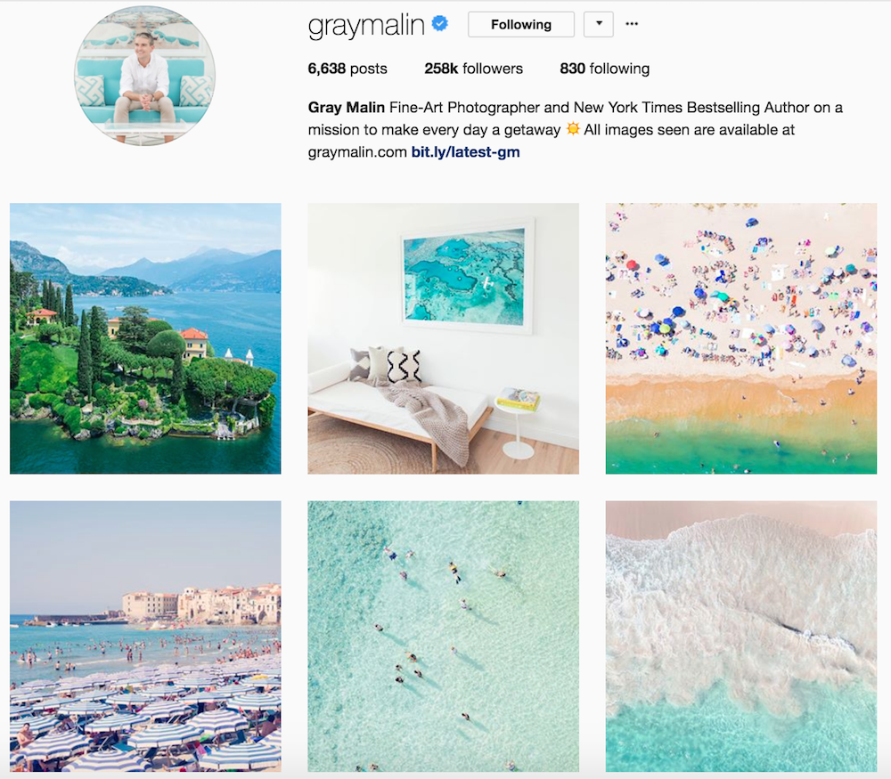 Screenshot of @graymalin Instagram page