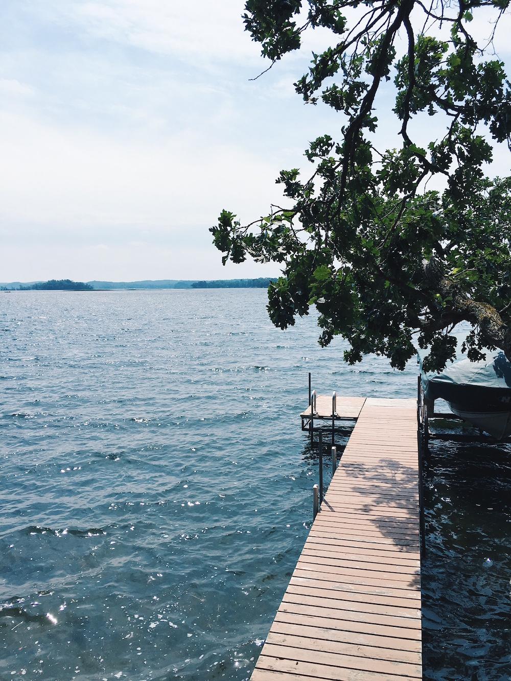Dock at Lake Alexander in Cushing, Minnesota summer lake life