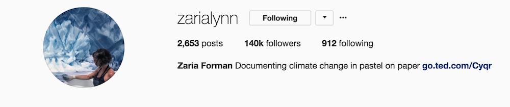Screenshot of @zarialynn Instagram title