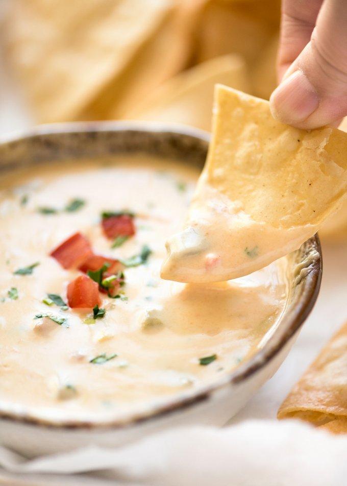 game day recipe ideas chile con queso dip
