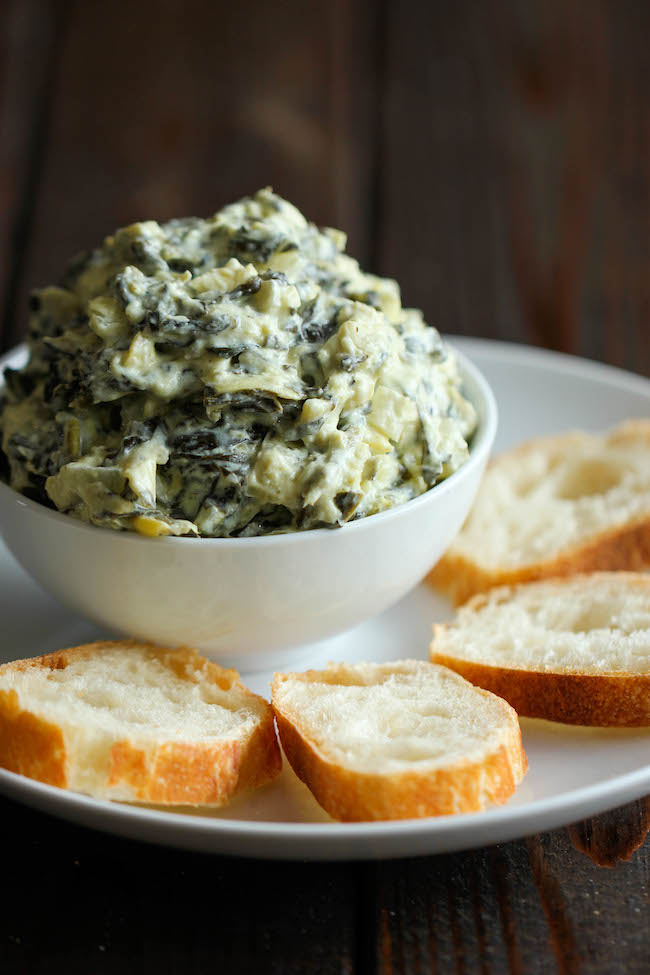 Artichoke dip with french bread crostinis game day recipe ideas