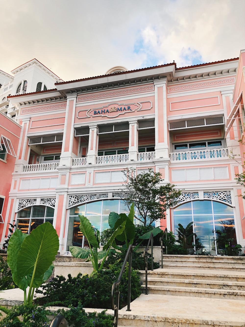 View of exterior Grand Hyatt Baha Mar pink building hotel Bahamas