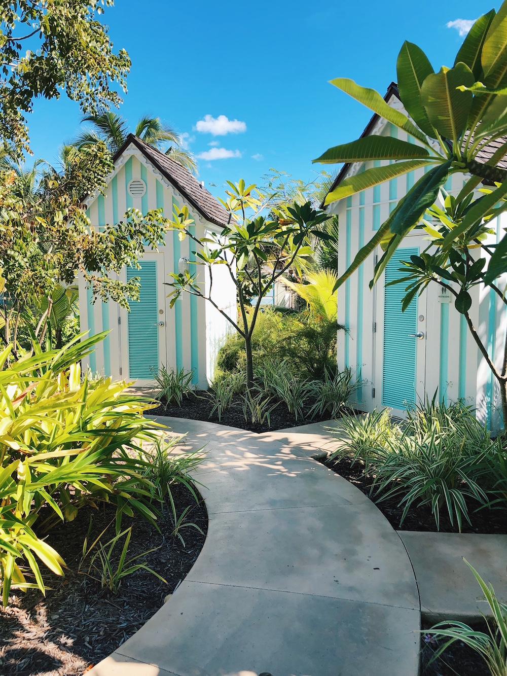 Pool bathroom shacks at Grand Hyatt Baha Mar Bahamas
