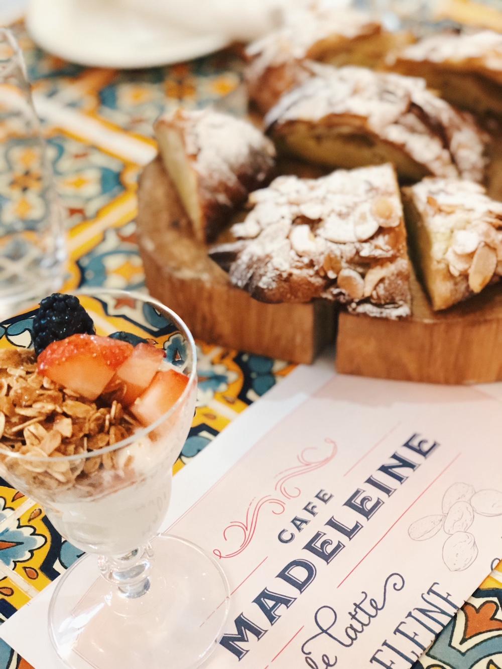 Yogurt parfait and pastries on wood cutting board at Grand Hyatt Baha Mar Bahamas