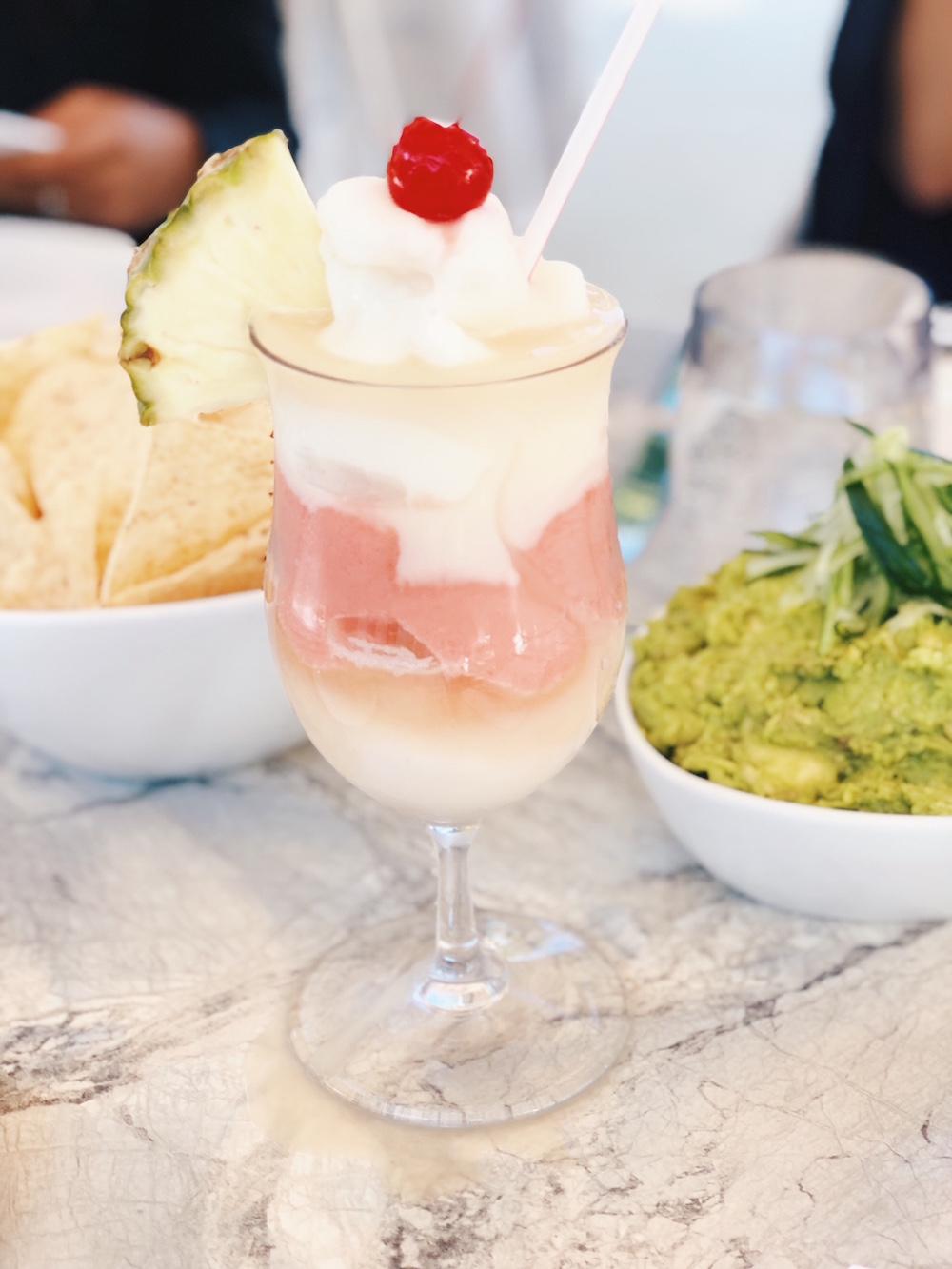 Miami vice frozen drink and chips guacamole at Palms Grand Hyatt Baha Mar Bahamas