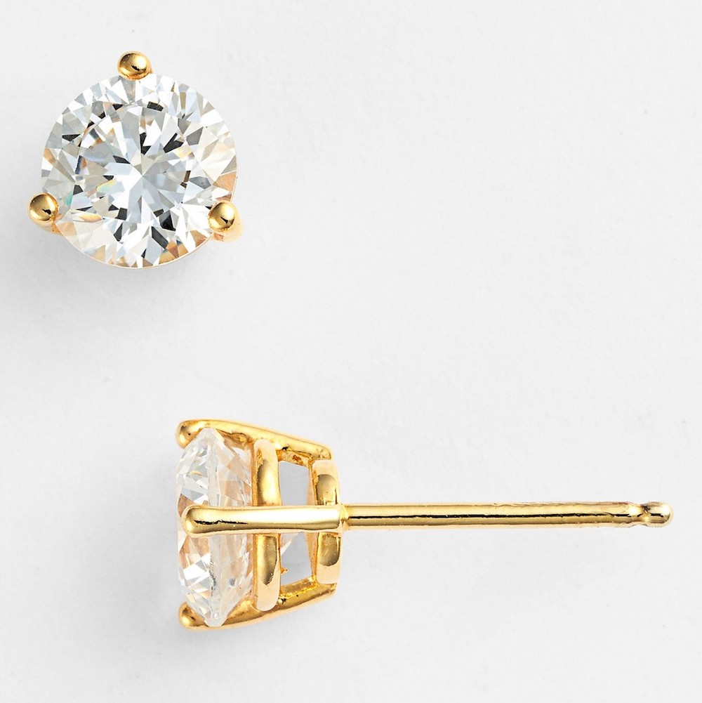 Nordstrom gold and diamond earrings