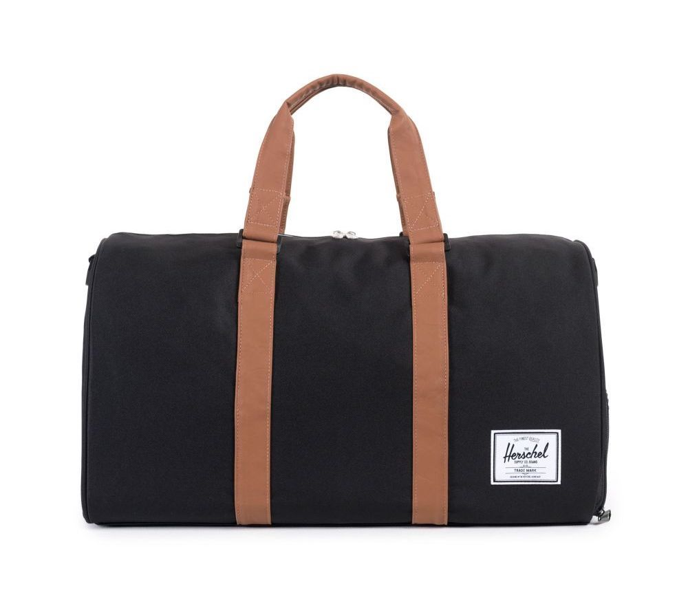 Black and leather travel bag for men