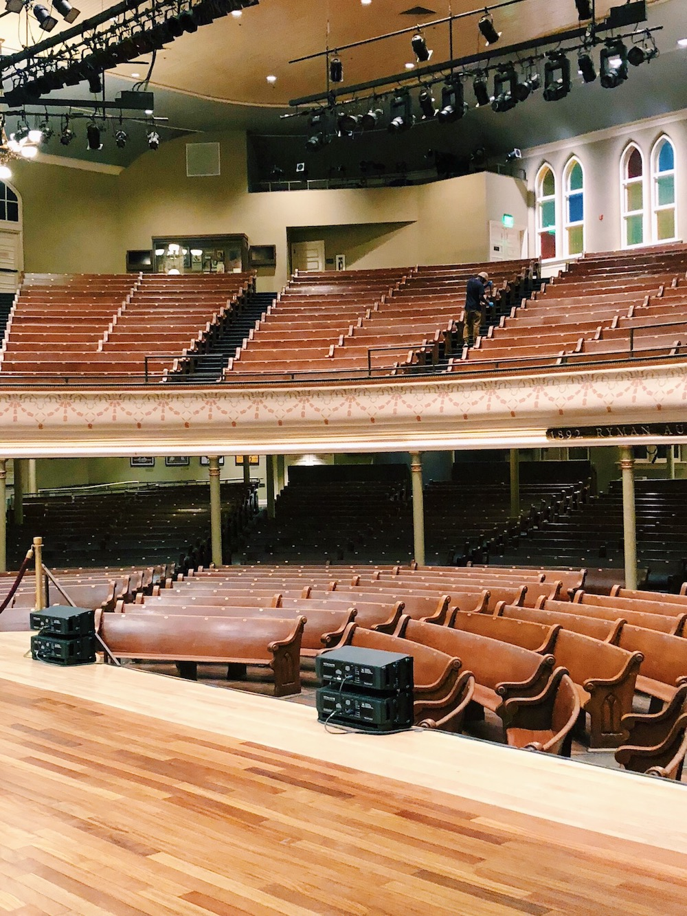 Church pews in Nashville music venue