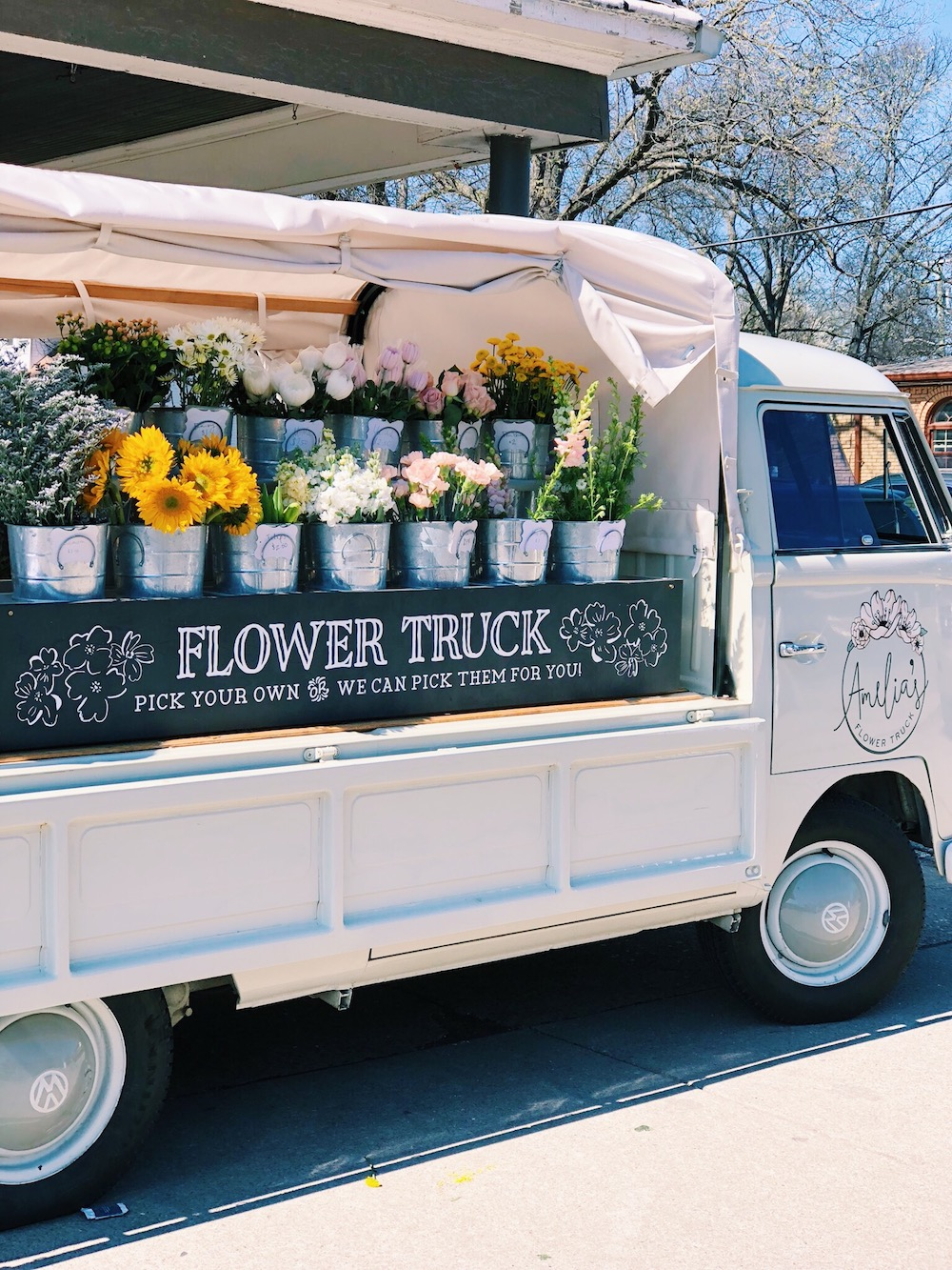 Cute open-air truck with flowers