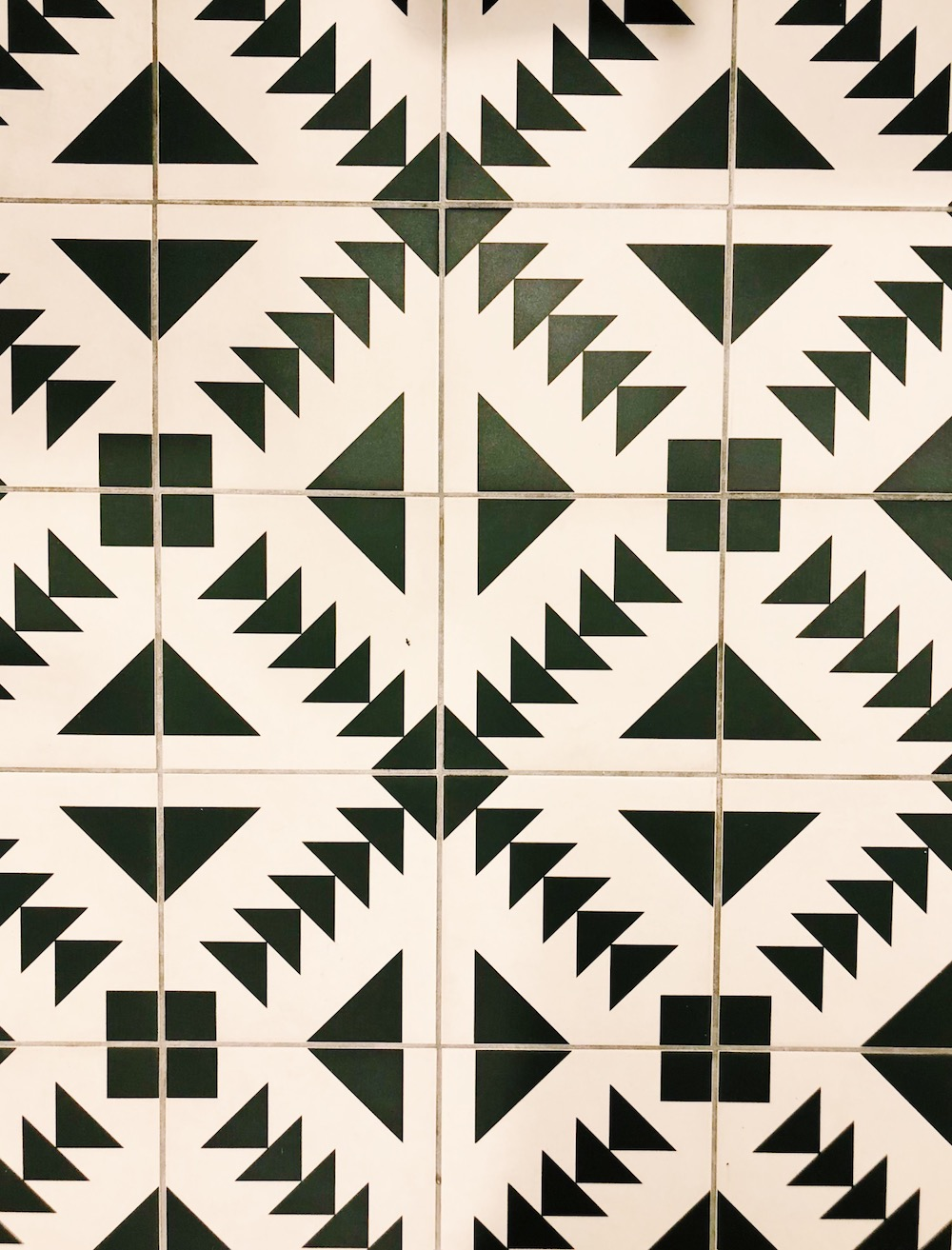 Black and white tiles in bathroom