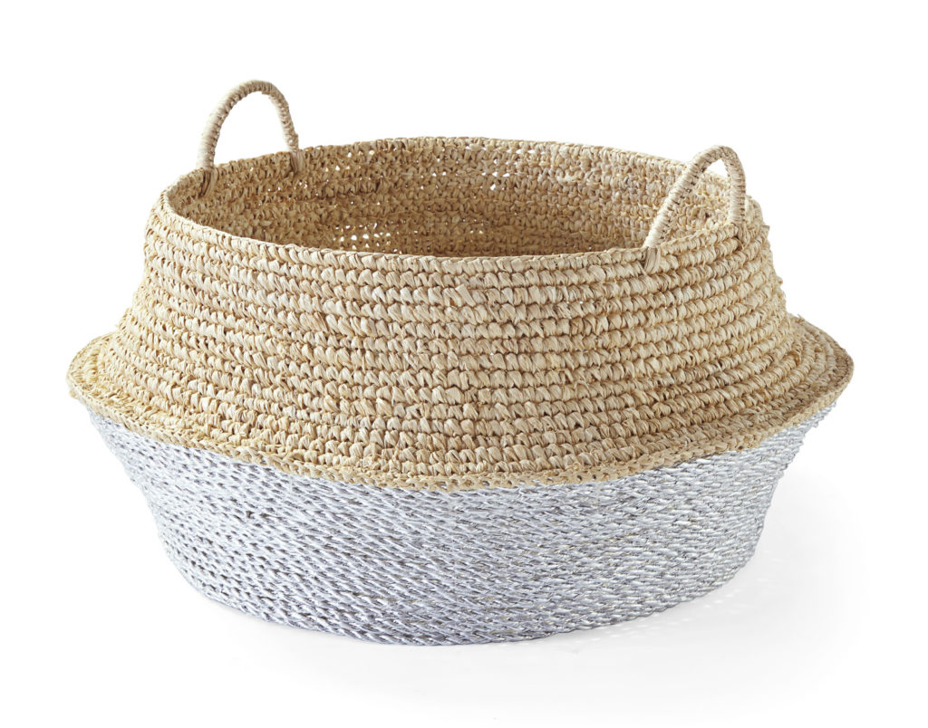 White and natural belly basket home decor