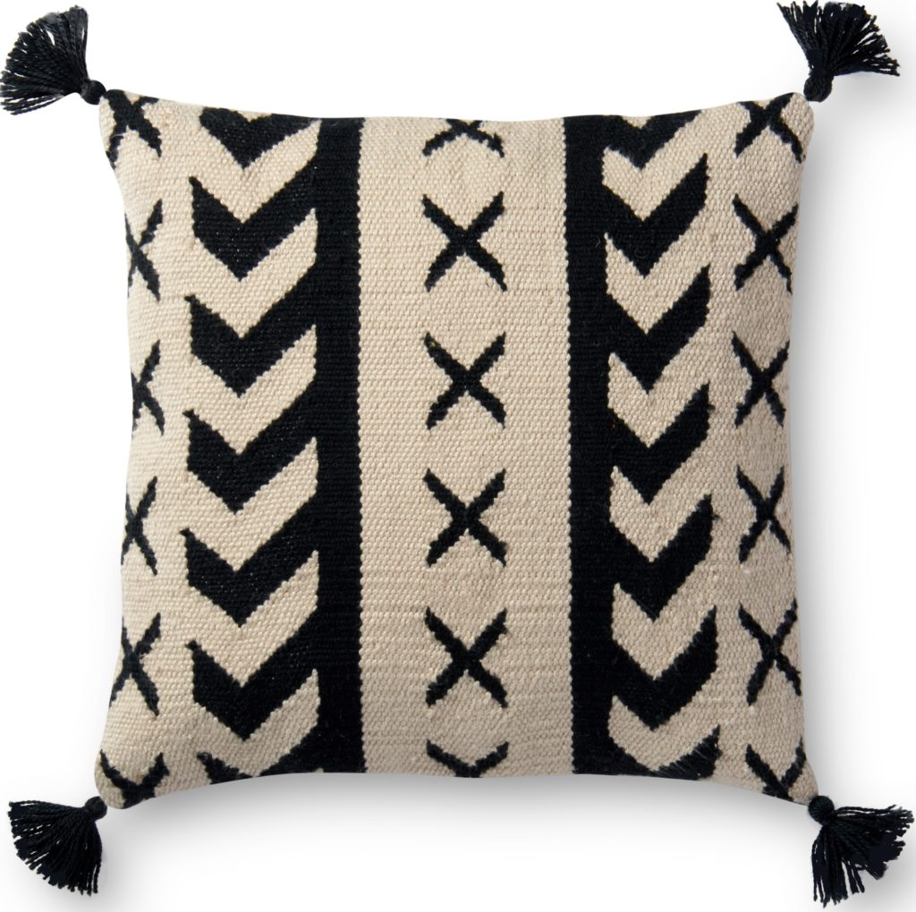 Jenna black and white tribal pillow with tassels from lulu and georgia