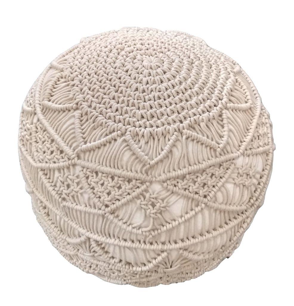 Macrame neutral home decor picks under 150 pouf woven macrame boho style