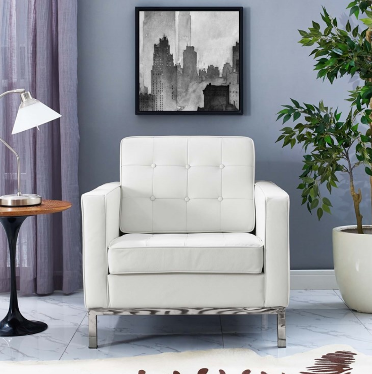 Classic white tufted accent chair