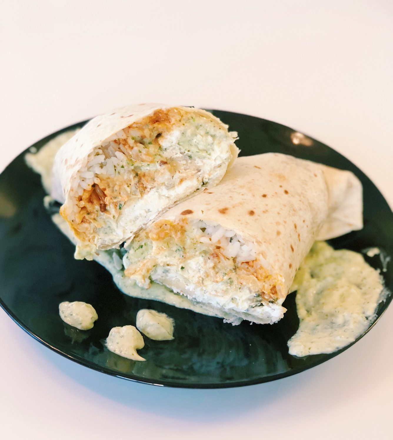 Tempeh chipotle and goat cheese wrap