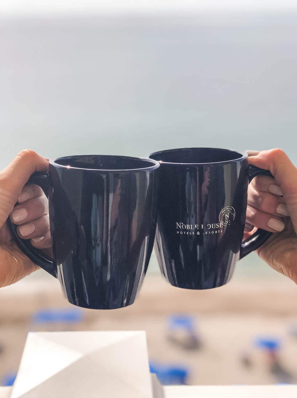 Coffee mug with ocean view