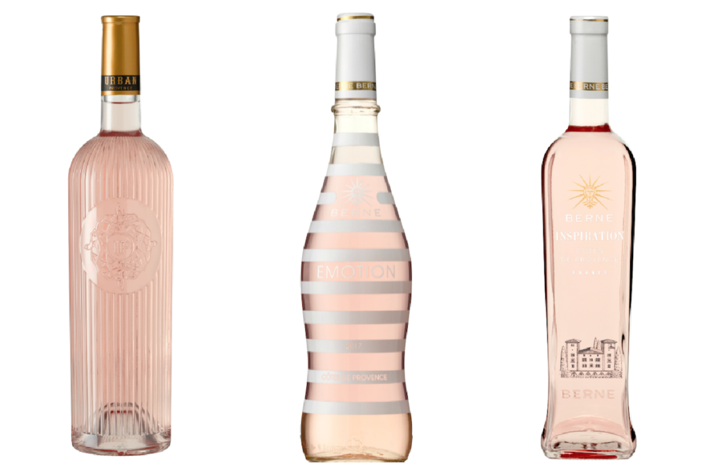Three varieties of Provence, France rosé