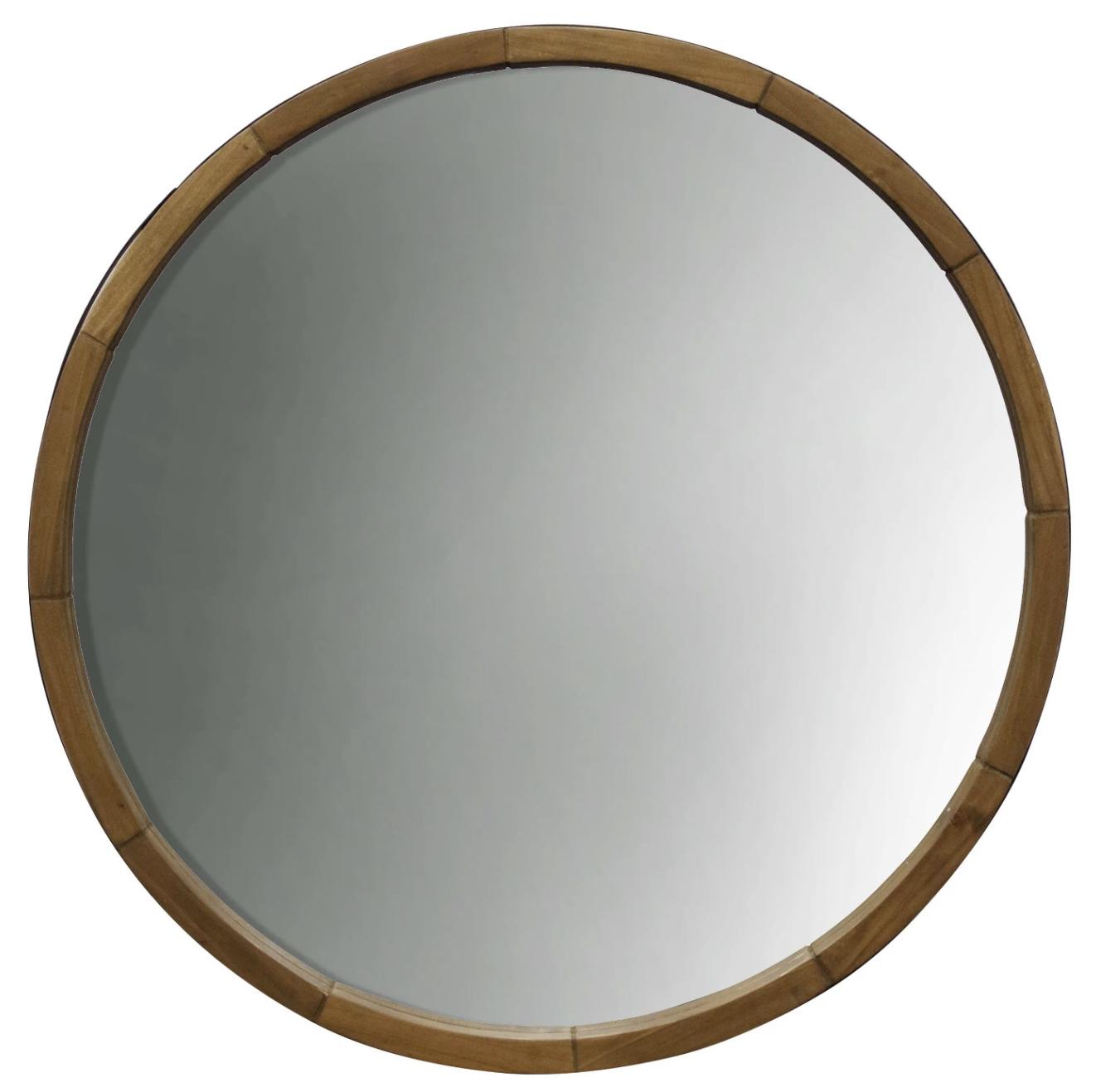"""""""Wood barrel"""" - Round decorative frame, $39.99; Target"""