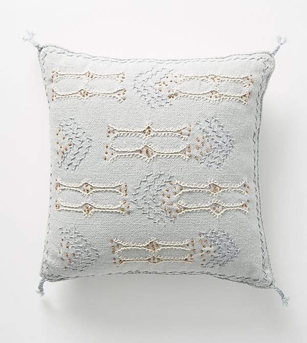 Joanna Gaines for Anthropologie Embroidered Sadie Pillow in Sky