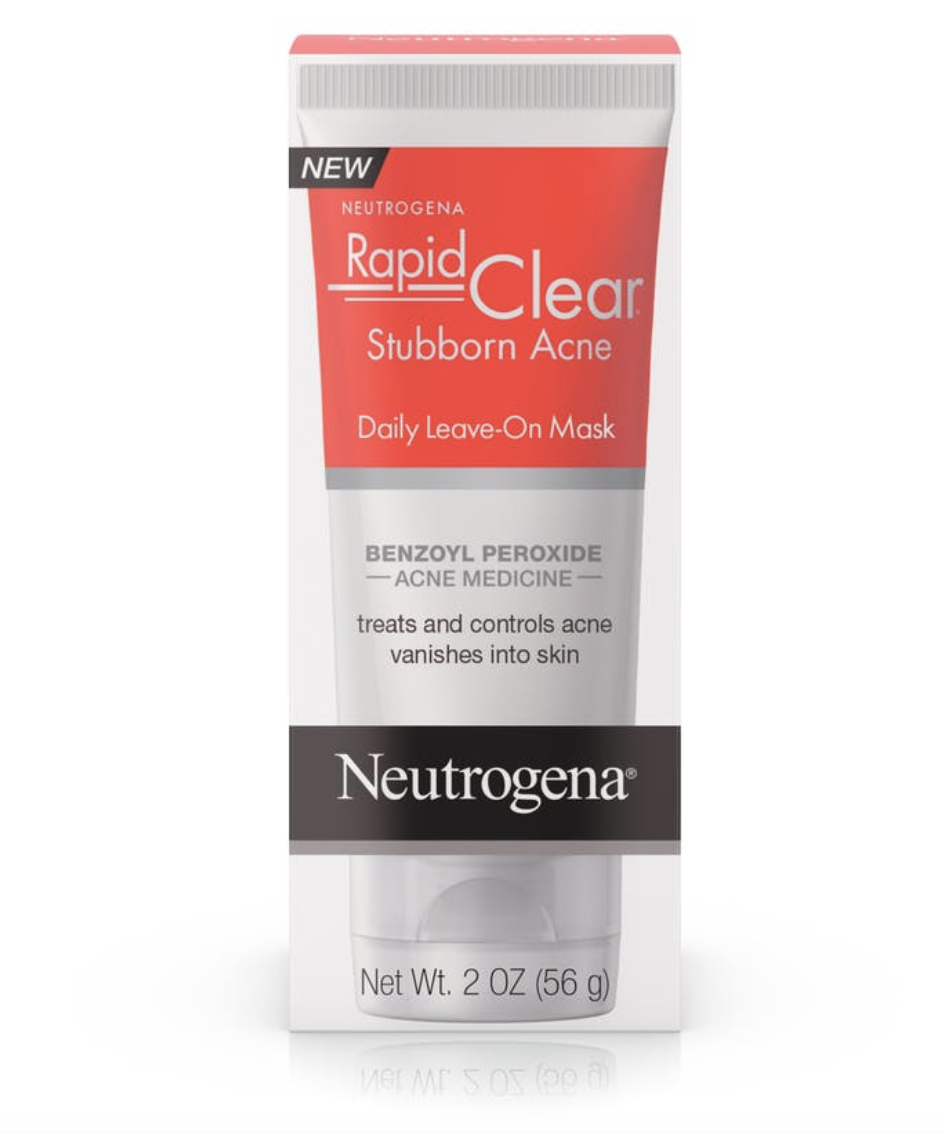 Neutrogena leave-on mask - Neutrogena Rapid Clear Stubborn Acne Daily Leave-On Mask, $10.64; AmazonWe swear by this stuff. We've tried fancier, more expensive products, but this Neutrogena clear formula daily leave-on mask is amazing. If you feel a pimple coming (aka if you have a little bulge under your skin that hasn't quite emerged yet), just rub a small amount into the area at night before you go to bed and in the morning before you apply your makeup. You'll be shocked a couple of days later when it disappears and is as if nothing ever happened!