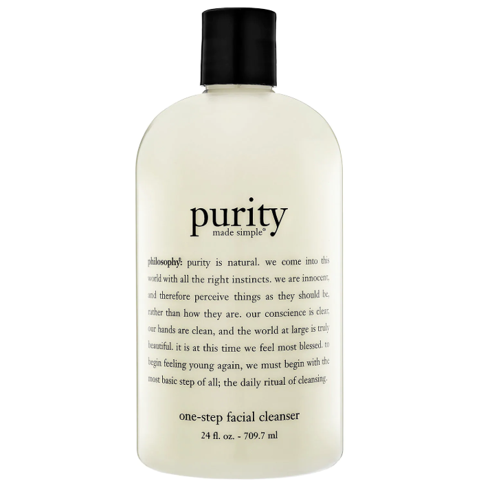 philosophy facial cleanser - philosophy purity made simple 1-step facial cleanser, $44 for 24oz.; SephoraThis facial cleanser is amazing for removing makeup at the end of the day. It feels like silk on your face & you only need a dime-sized amount to clean your face AND remove your makeup.
