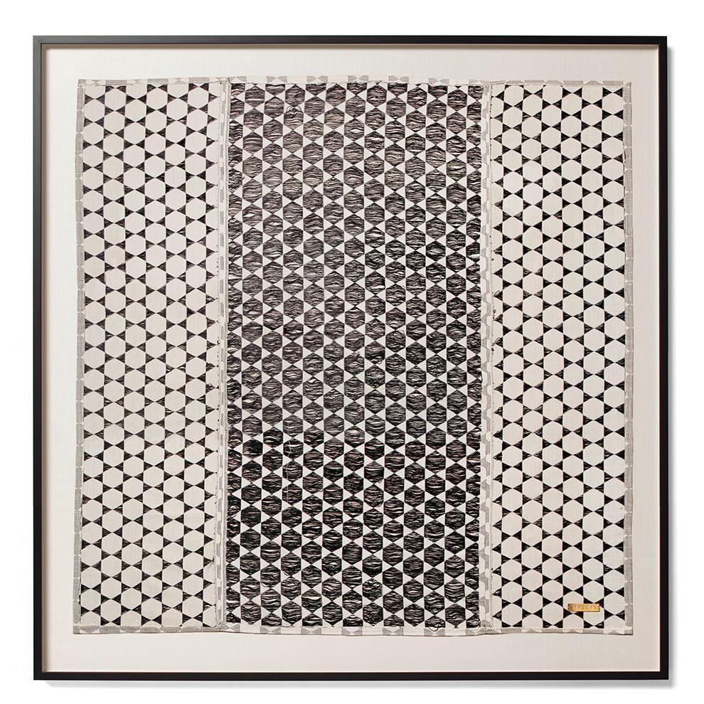 """""""Biddew noir"""" - Sublime framed textile, $2,250; St. Frank"""