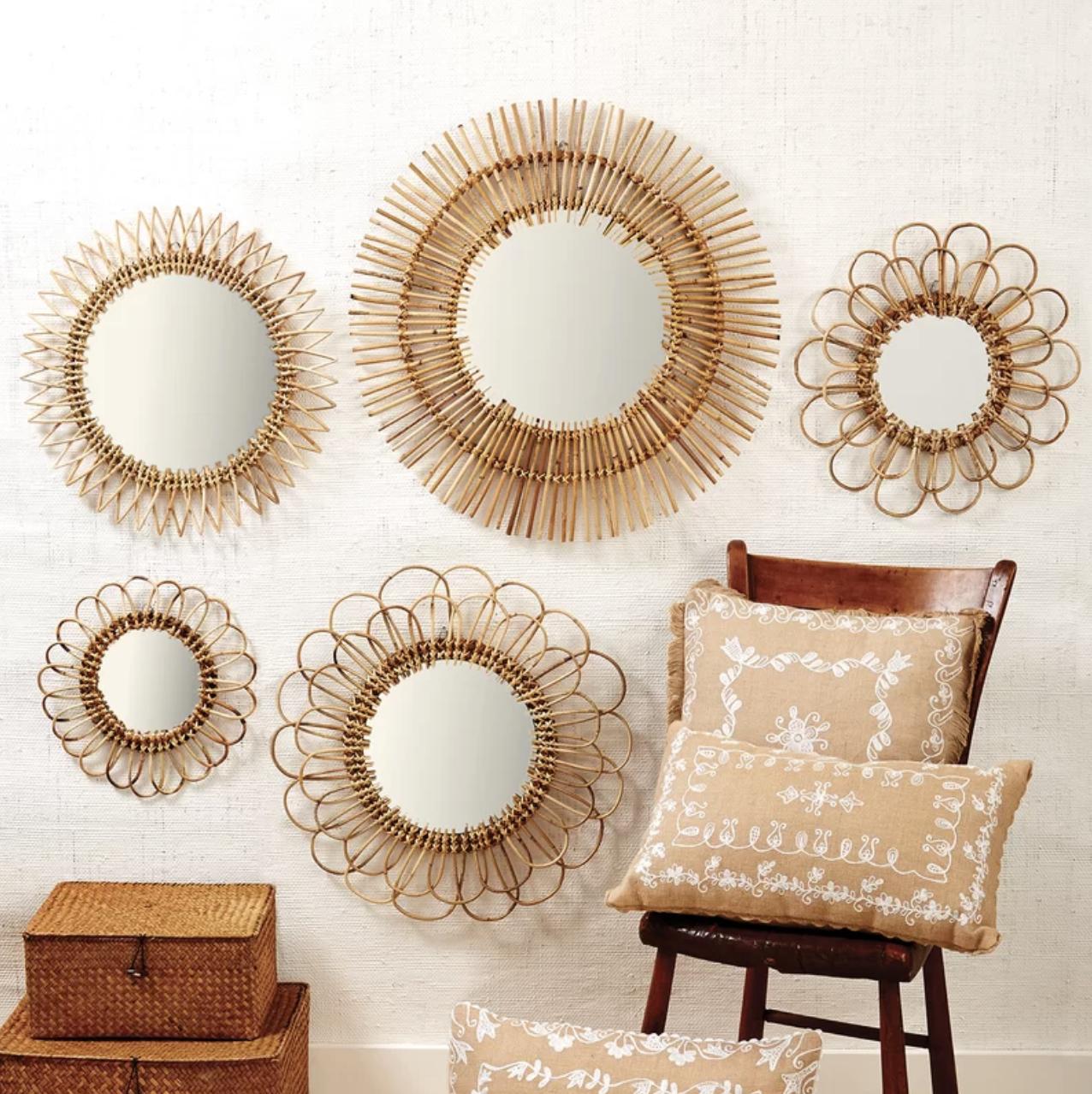 """Raquel"" - 5-piece rattan wall mirror set, $300; Wayfair"