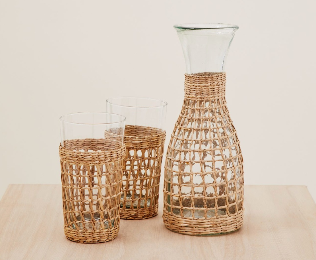 """Rattan Picnic"" - Seagrass weave with recycled carafe, $45; Jenni Kayne"