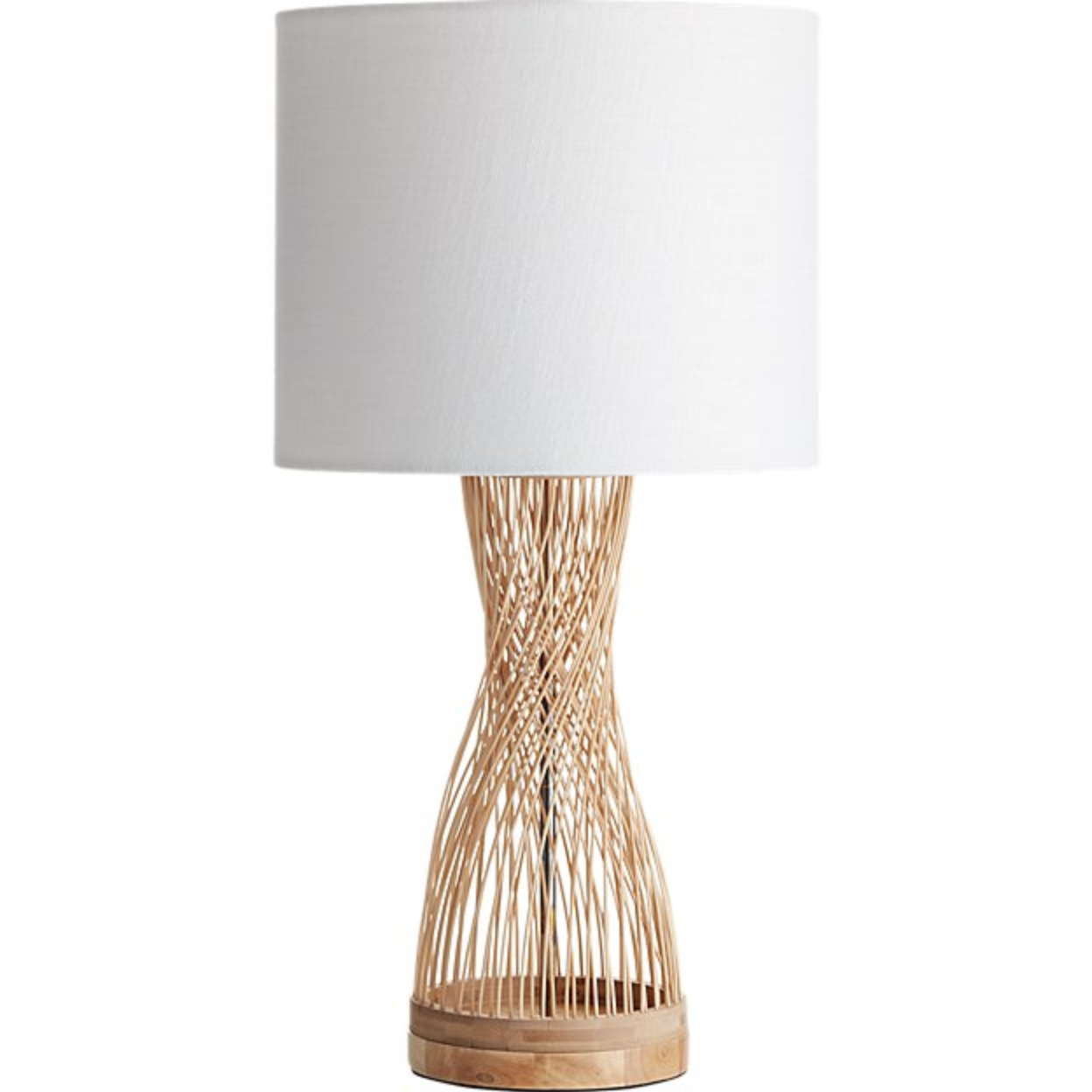 Rattan lamp - Rattan table lamp with white shade, $129; CB2