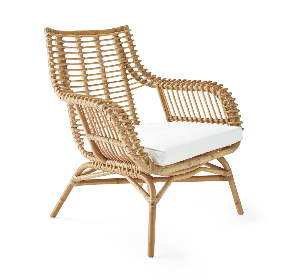 """Venice"" - Rattan chair (cushion sold separately), $498; Serena & Lily"