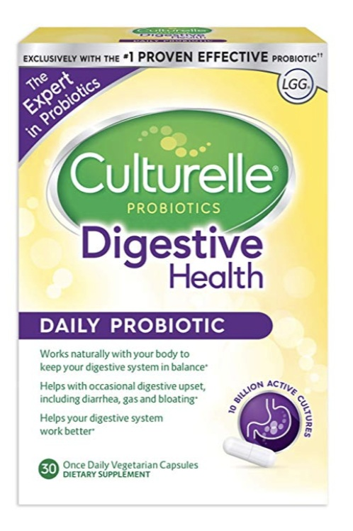 Culturelle - Daily probiotic for digestive health, $15.21 for 30 tablets; AmazonThis probiotic contains Lactobacillus GG, which is best for digestive health – think balancing good bacteria to help prevent digestive problems, gas, bloating, etc.