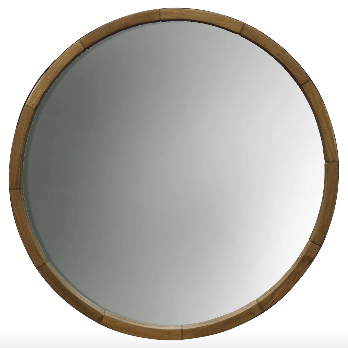 "Wood Barrel - Round 23.5"" mirror, $45; Target"