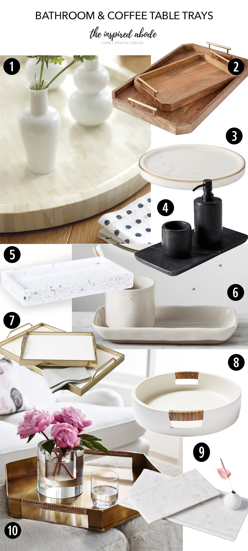 Our favorite bathroom trays and coffee table trays for décor and necessities.