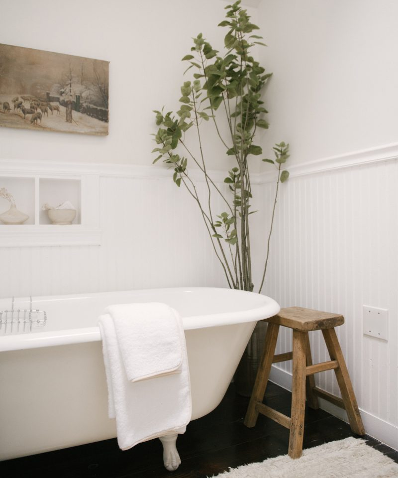 Neutral Bathroom Design with Vintage Tub | JDP Interiors | Stanley Project