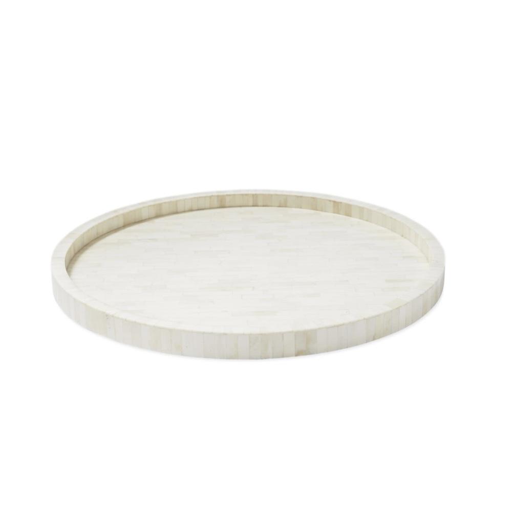 """Leila"" - Round bone inlay tray, $298; Serena & Lily"