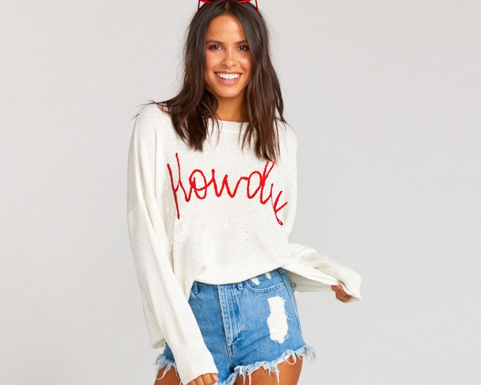 """Howdy"" sweater - Woodsy graphic sweater, $144; Show Me Your Mumu"