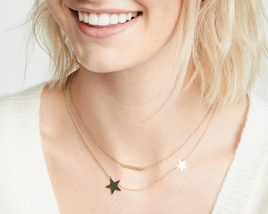 star necklace - Two-star gold necklace, $60; Shashi