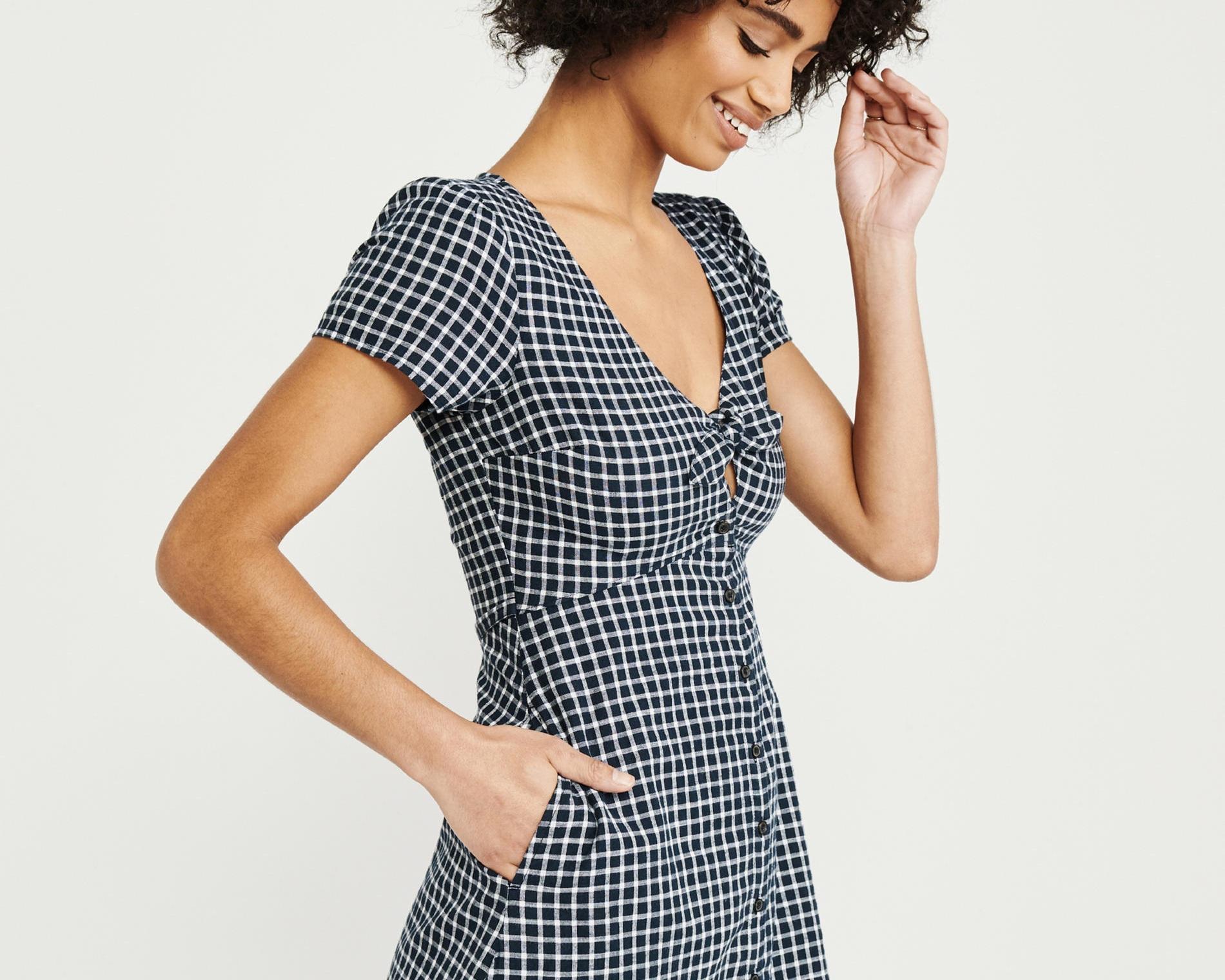 shirt dress - Knot-front shirt dress, $58; Abercrombie