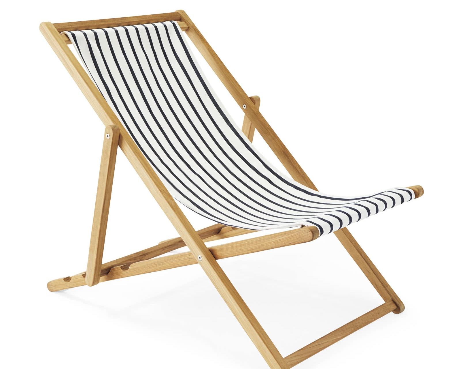 sling chair - Striped teak sling chair, $358; Serena & Lily