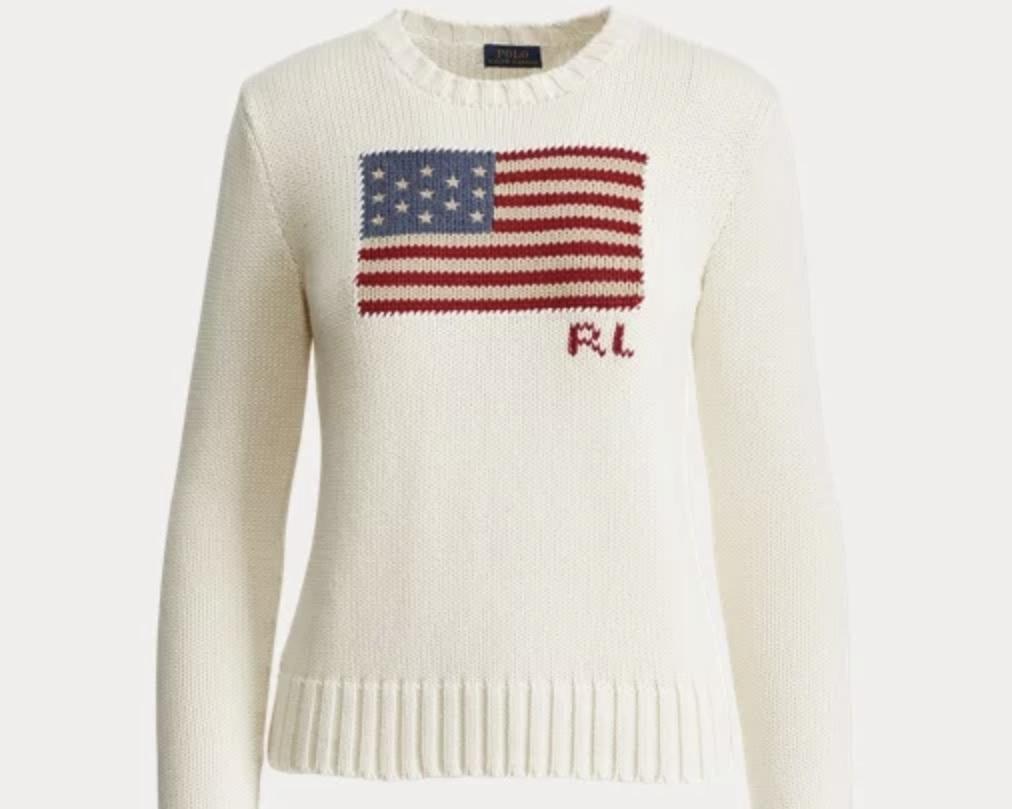 Flag sweater - Cotton sweater, $148; Polo Ralph Lauren