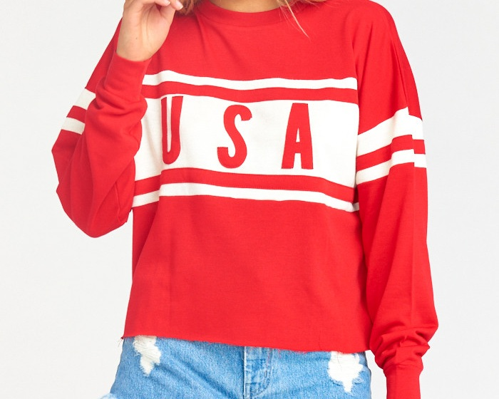 USA Sweater - Payton graphic pullover, $114; Show Me Your Mumu