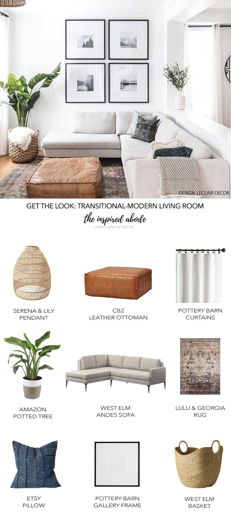 Get the Look: Transitional-Modern Living Room Design by Leclair Decor